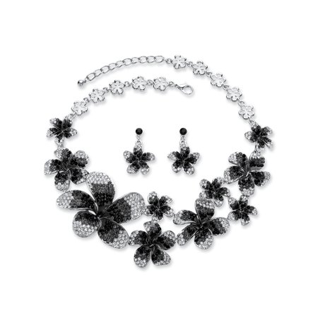 Black, Grey and White Ombre Crystal 2-Piece Flower Bib Necklace and Earrings Set in Silvertone Adjustable (Ombre Jewelry)