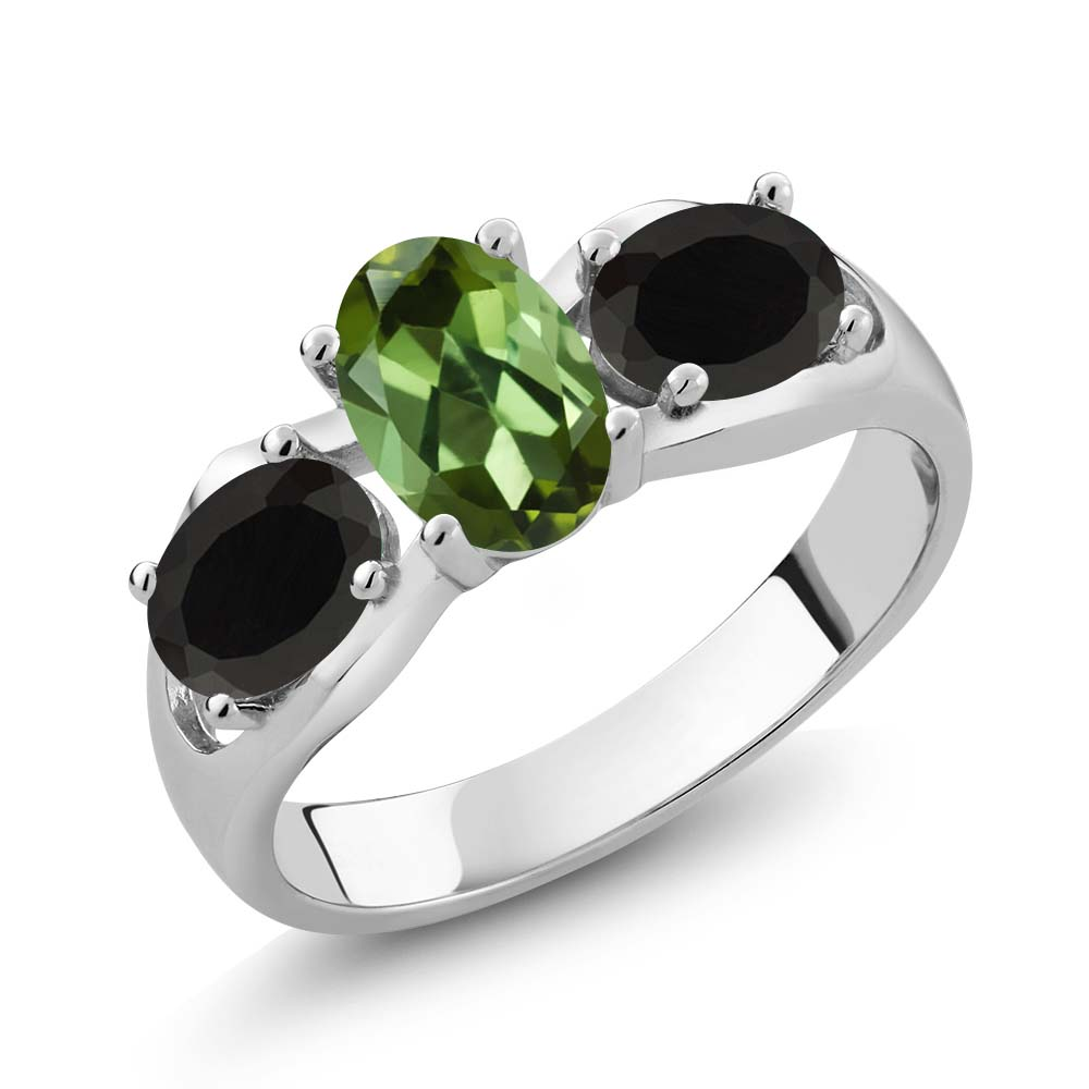 1.48 Ct Oval Green Tourmaline Black Onyx 14K White Gold Ring by