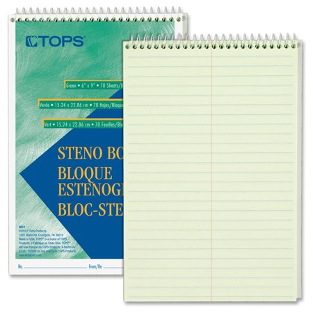 Tops Green Tint Steno Books   70 Sheets   15 Lb Basis Weight   6  X 9    Green Tint Paper Green  White  Blue Cover  8011Dz