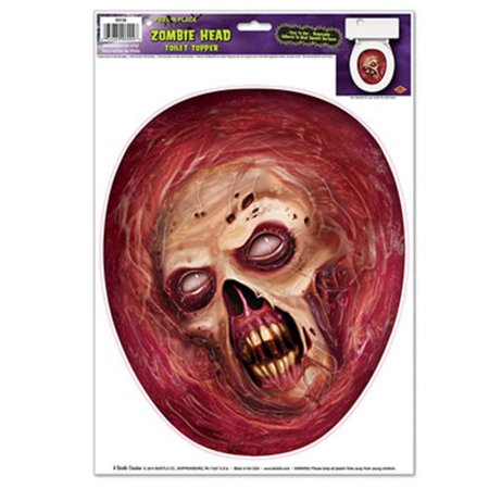 Club Pack of 12 Zombie Head Toilet Topper Peel 'N Place Halloween Decorations 13.5
