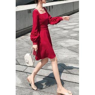 - Women Square Neck Solid Colored Mini Dress
