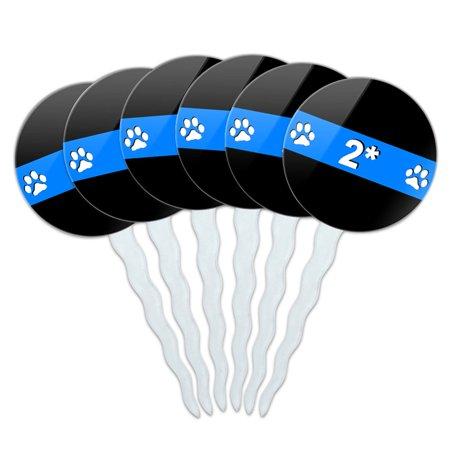 Thin Blue Line 2 Two Asterisk K-9 Unit Police Paw Prints Cupcake Picks Toppers - Set of 6 ()