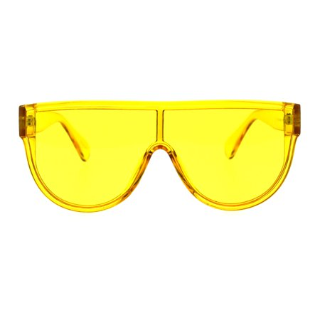 Womens Flat Top Shield Racer Mob Plastic Oversize Sunglasses Yellow ()