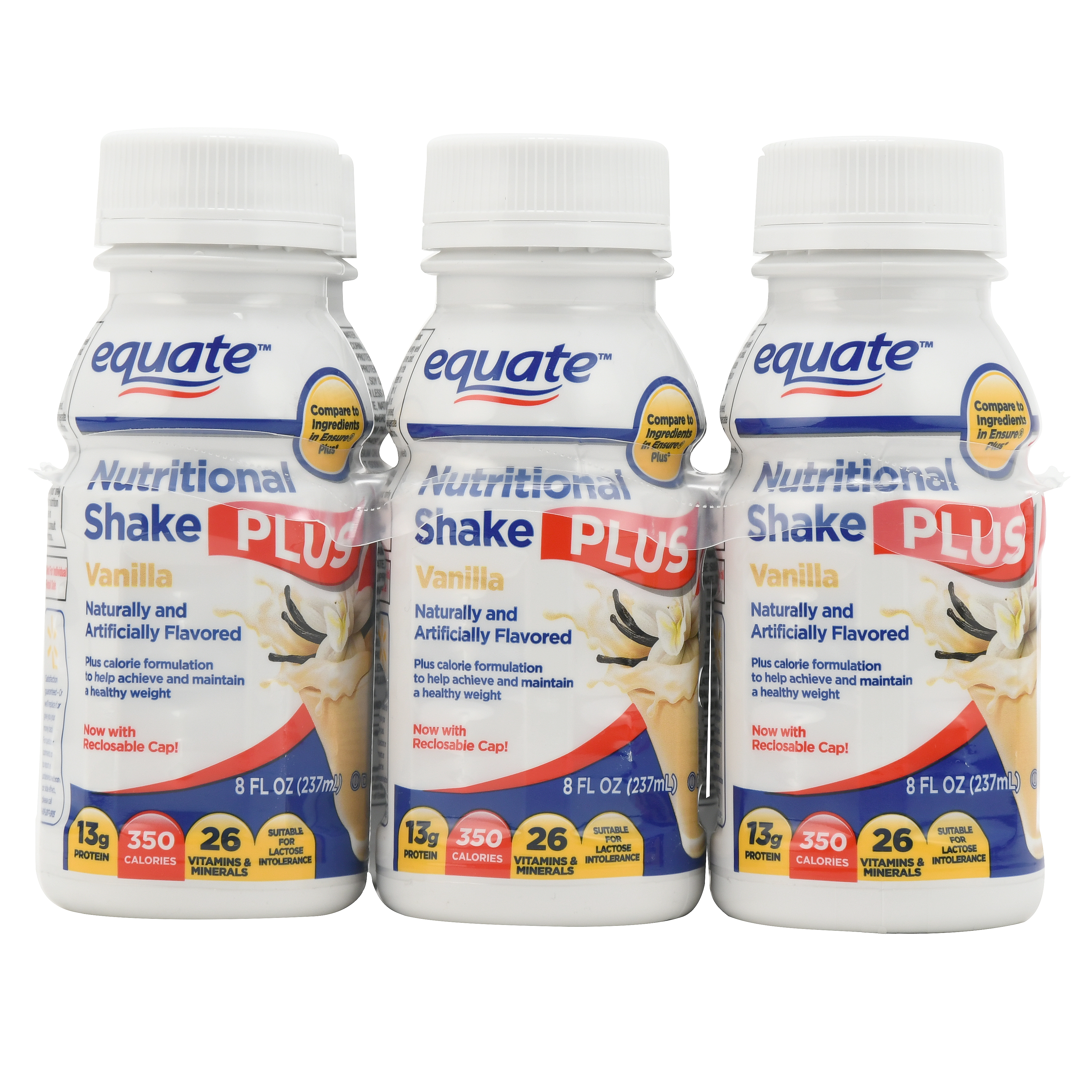 Equate Nutritional Shake Plus, Vanilla, 8 Oz, 6 Ct