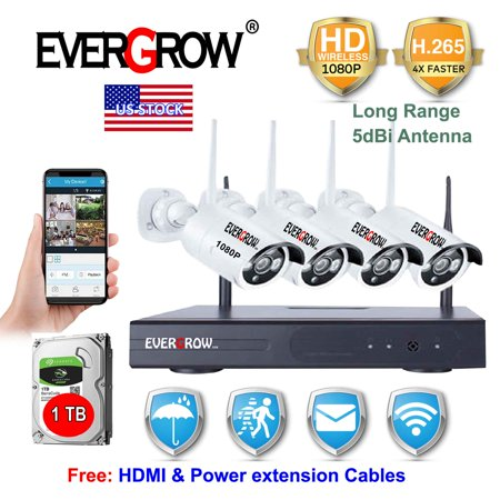 Advanced H265+ Technology 4CH HDMI NVR 2MP 1080P Wireless IP CCTV WIFI Surveillance Security Camera System With 1TB Hard Drive Disk (CAM-WIFI-4CH-2MP)