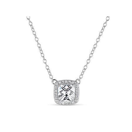 18k Gold Over Silver Filigree - Cushion Cut White Cubic Zirconia Sterling Silver and 18k Rose Gold Over Sterling Silver Filigree Sides Necklace, 18