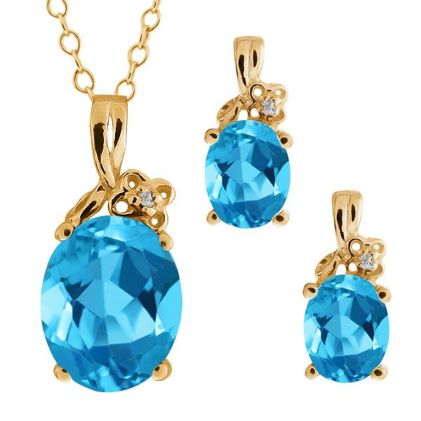5.87 Ct Oval Swiss Blue Topaz Gemstone 18k Yellow Gold Pendant Earrings Set by