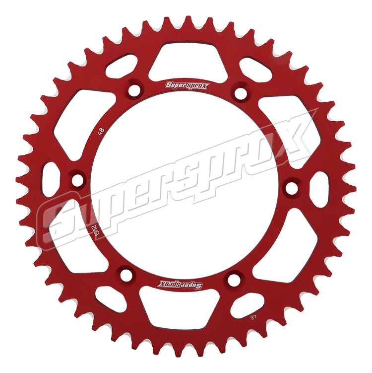 New Supersprox Red Aluminum Sprocket, 48T, Chain Size 520, Ral-1512-48-Red