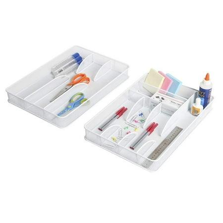 Large Utensil Holder - Seville Classics Large Steel Mesh Flatware Utensil Cutlery Desk Drawer Tray Organizer Set, White