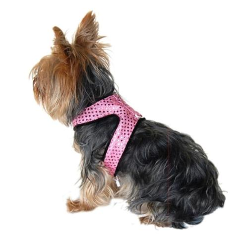 Pink Sparkle Sequins Woven Harness Leash For Dog - Large