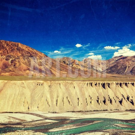 Vintage Retro Effect Filtered Hipster Style Travel Image of Himalayan Landscape in Hiamalayas near Print Wall Art By