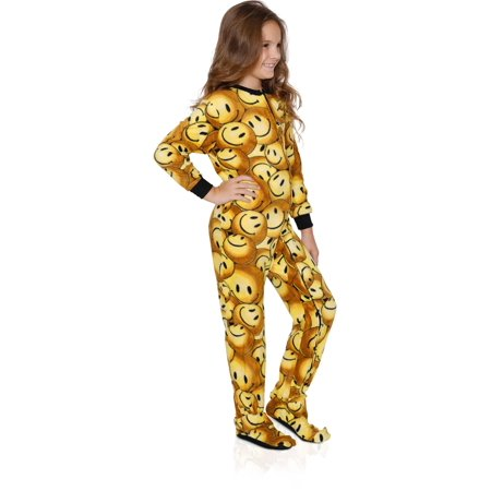 FUN FOOTIES Camo Smiley Girls Footed Pajama Sleeper Onesie, Smiley Emoji, Size: 6-7