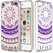iPod Touch 6/ iPod Touch 5 Case, RANZ Purple Mandala Flower Design Hybrid Soft TPU Side and Clear Hard Acrylic Back Protective Cover Case for Apple iPod Touch 6/ iPod Touch 5 …