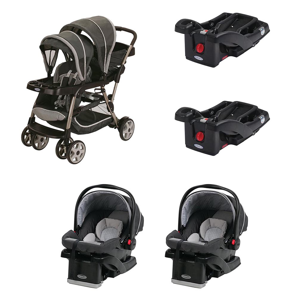 Graco Ready2Grow Dual Stroller + 2 Car Seats and 2 Car Seat Bases Travel System by Graco