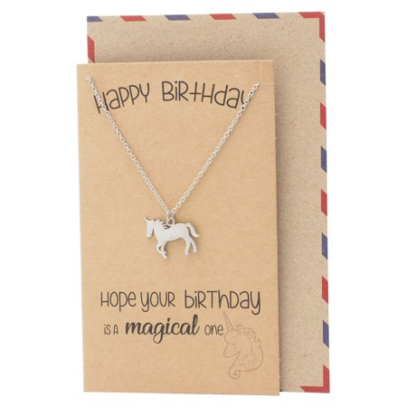 Quan Jewelry Unicorn Necklace, Birthday Gifts for BFF, Animal Jewelry, Gifts for Valentines Day, Handmade Jewelry, with Birthday Greeting Card - Unicorn Valentine