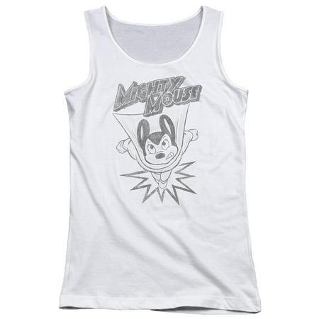 Mighty Mouse 1950's Cartoon Superhero Retro Bursting Out Juniors Tank Top Shirt (Bursting Out)