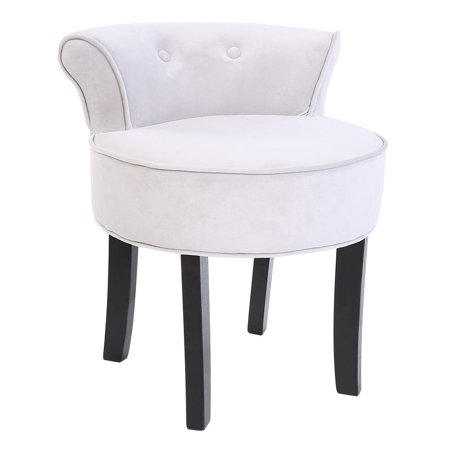Grey Chenille Vanity Stool With Black Legs Bedroom Dressing Chair , Stool , Bedroom Dressing Chair ()