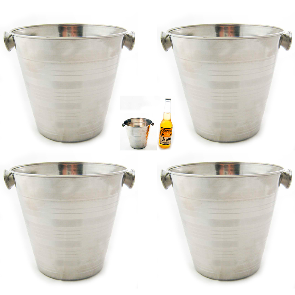4 Stainless Steel Ice Bucket Champagne Wine Pail 32 OZ Bar Restaurant Farm Milk by Regent Products