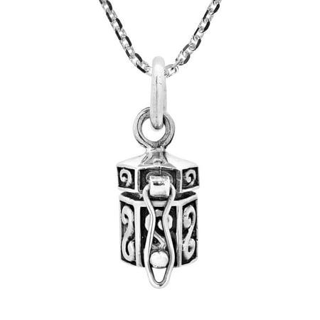 Swirling Hexagon Shaped Sterling Silver Prayer Box Locket Necklace Sterling Silver Prayer Box