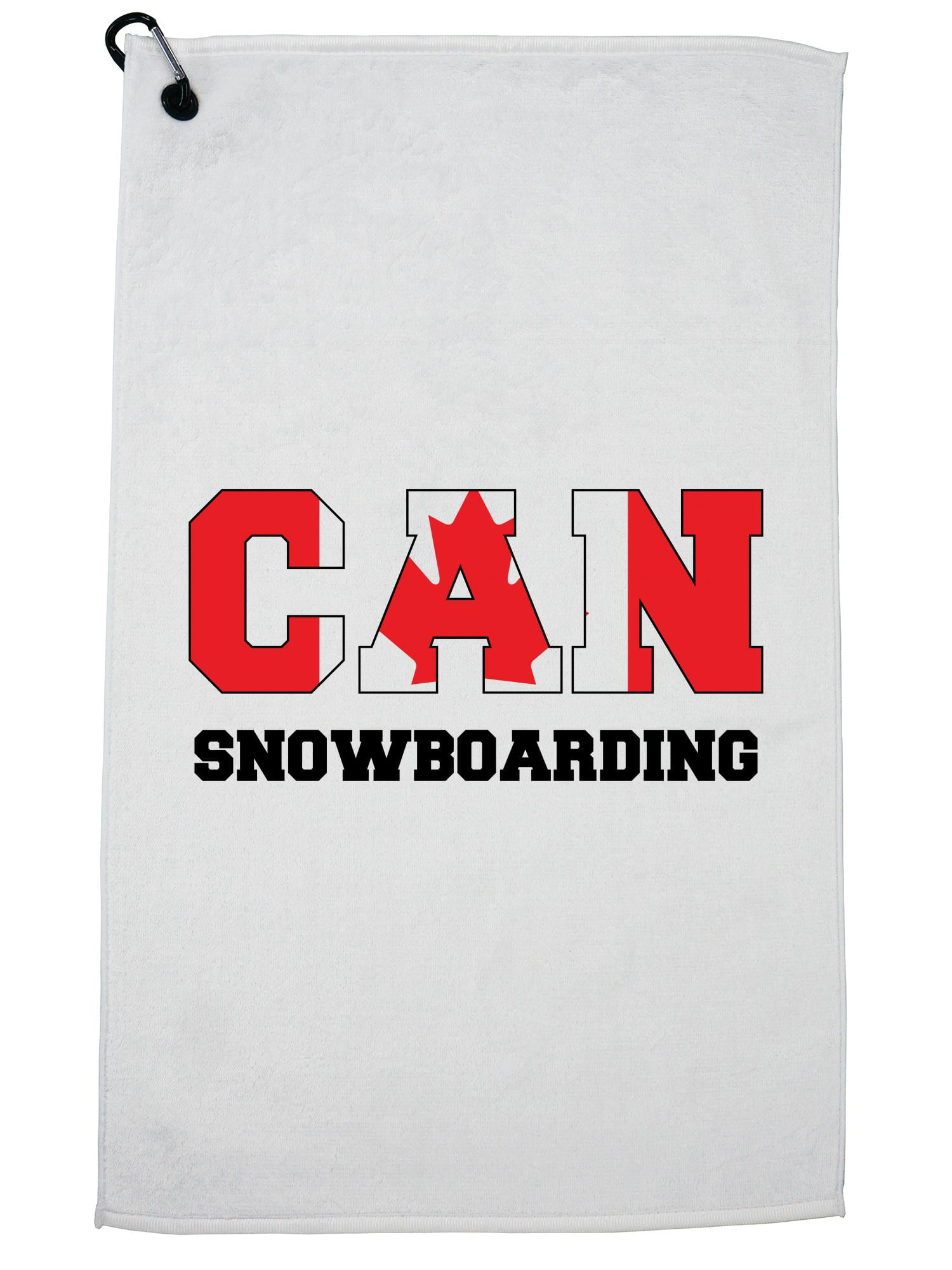 Canada Snowboarding Winter Olympic Korea CAN Flag Golf Towel with Carabiner Clip by Hollywood Thread