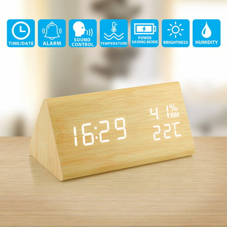 Wooden Alarm Clock, Wood LED Digital Desk Clock, UPGRADED With Time Temperature, Adjustable Brightness, 3 Set of Alarm and Voice Control, Humidity Displaying - Bamboo