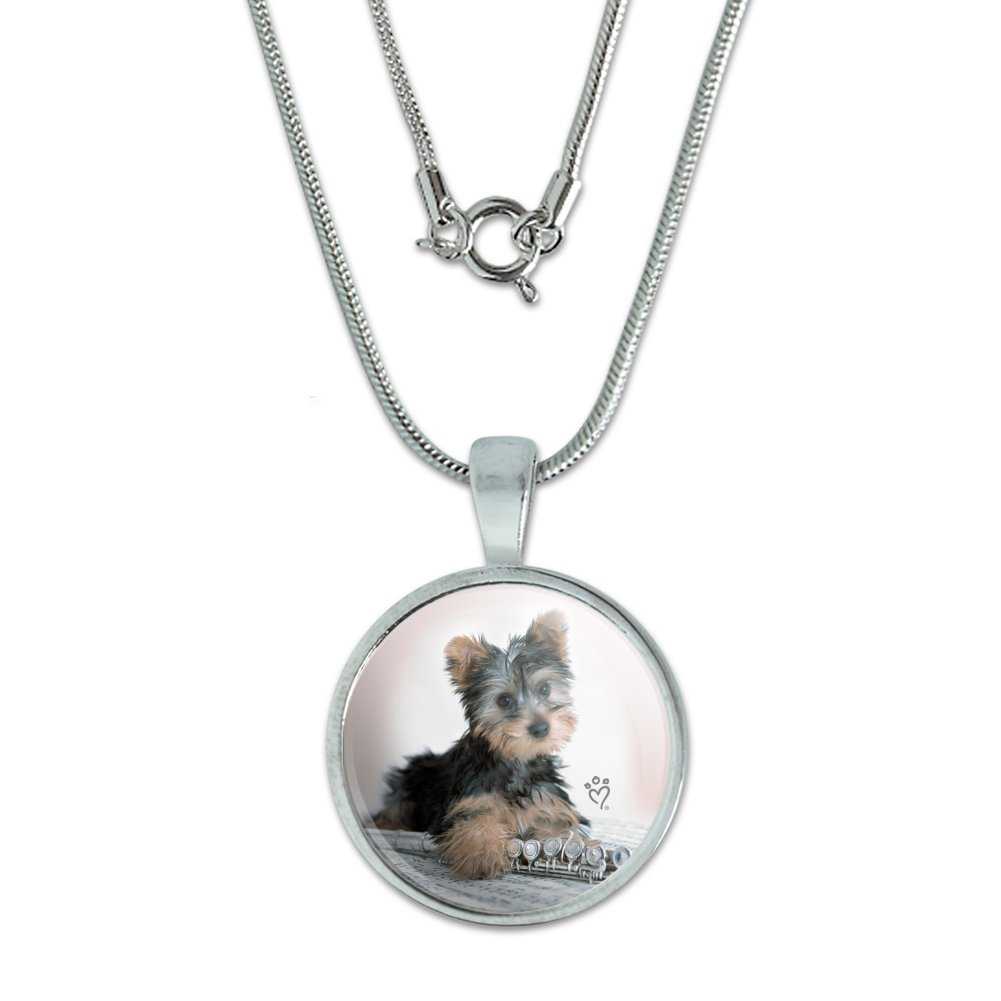 Yorkie Yorkshire Terrier Puppy Dog Musical Instrument Dog Tag Pendant with Chain