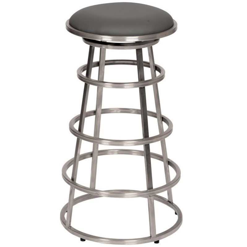 Armen Living Ringo Faux Leather Stainless Steel Bar Stool in Gray - image 1 de 3
