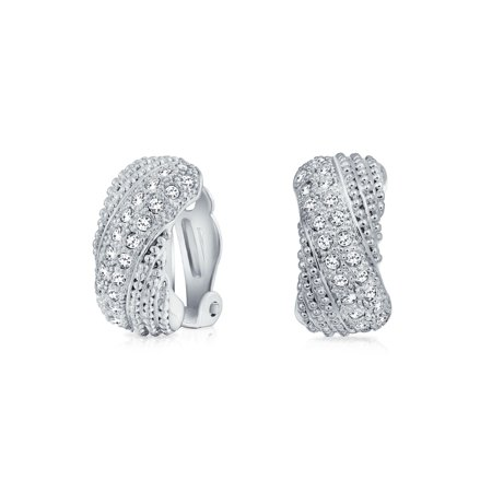 Bridal Prom Criss Cross Twisted Row Pave Crystal Dome Half Hoop Clip On Earrings Non Pierced Ears Silver Plated Brass Crystal Chandelier Pierced Earrings