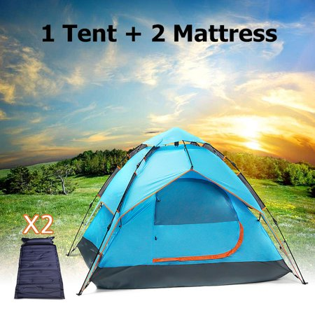 898cf9545c8 3-4 Persons Outdoor Double Layer Hydraulic Automatic Instant Double layer  Waterproof Camping Tent + Two Self-Inflating Air Mat Mattress - Walmart.com