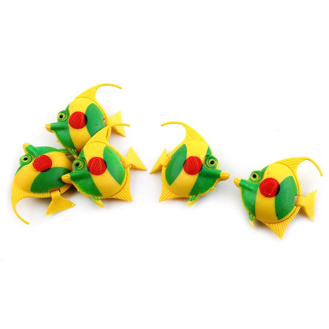 Aquarium Plastic Simulated Floating Tropical Fish Ornaments Green Yellow 5pcs