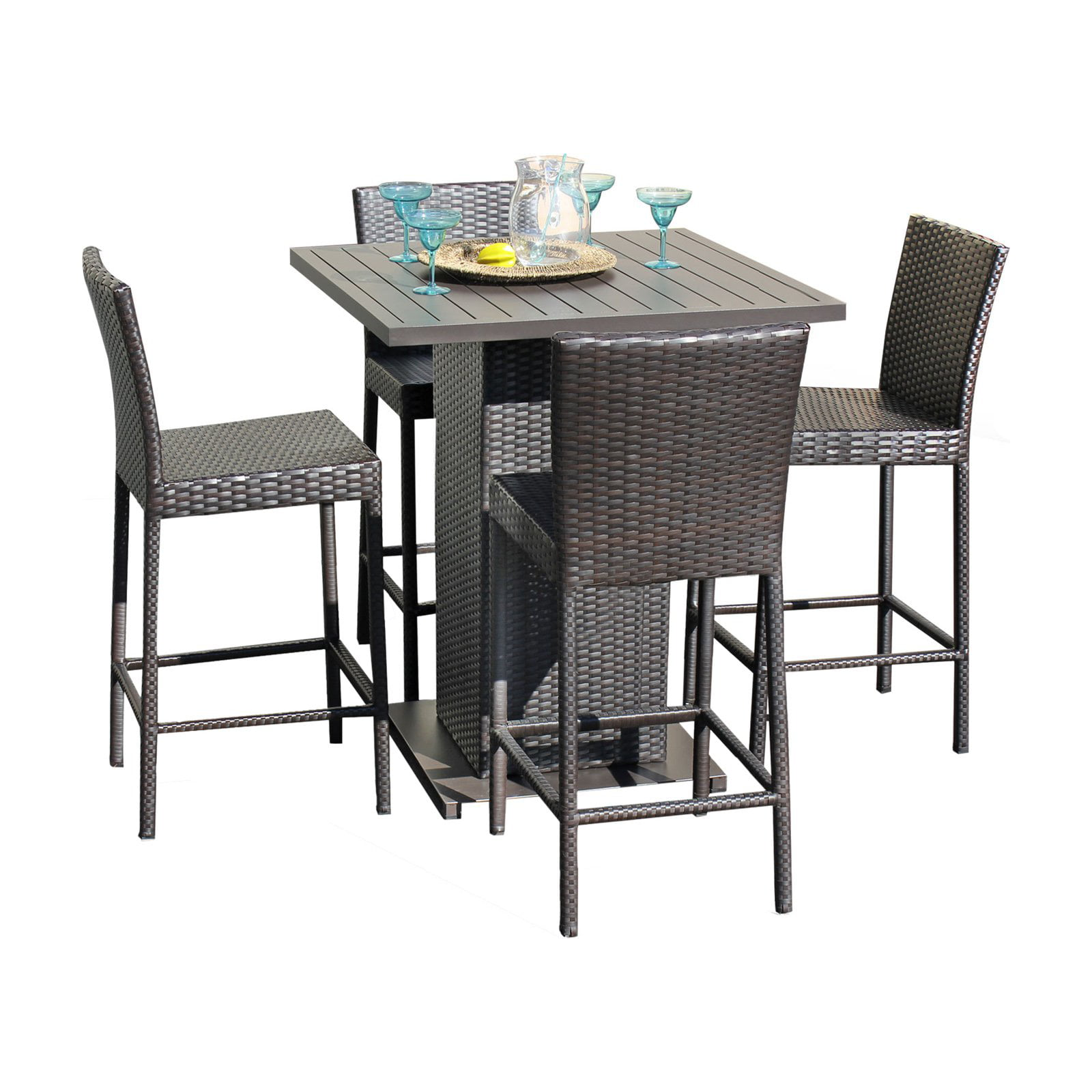 Charmant TK Classics Belle 5 Piece Wicker Bar Height Patio Dining Set