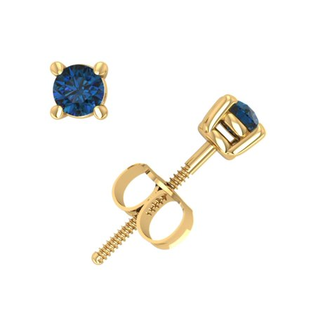 Blue White Yellow Diamond Studs (0.20Ct Round Blue Diamond Basket Solitaire Stud Earrings 14k Yellow Gold 4Prong I2)