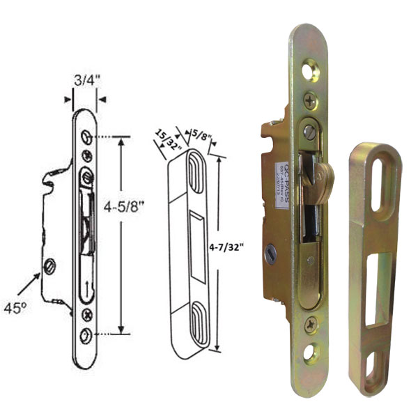 "Sliding Glass Patio Door Replacement Mortise Lock, 45 Degree Keyway, with Faceplate, 4-5/8"" Screw Holes"