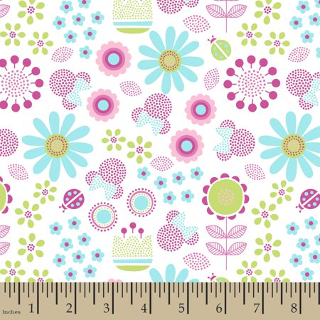 Disney Minnie With Flowers Fabric by the Yard](Wholesale Disney Fabric)