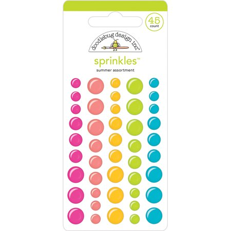 Doodlebug Sprinkles Adhesive Glossy Enamel Shapes 45/Pkg-Summer