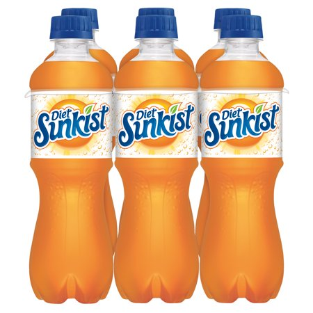 Sunkist Diet Orange Soda, 0.5 L, 6 Count
