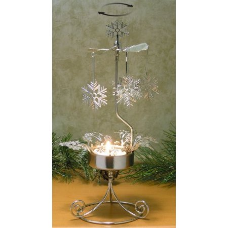Snowflake Candle Holder - Spinning Snowflake Charms with a Tealight Candle Holder - Silver Metal with Laser Cute Designs - Scandinavian Candles - Snowflake Candles