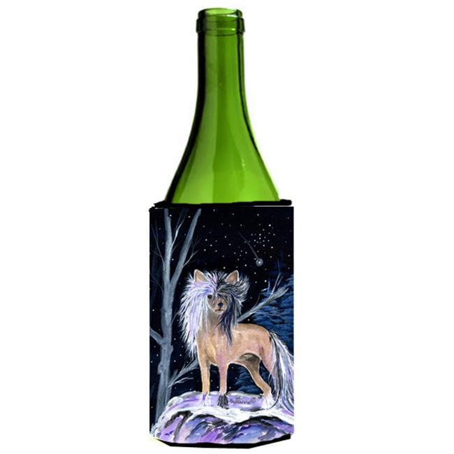 Carolines Treasures SS8390LITERK Starry Night Chinese Crested Wine bottle sleeve Hugger - image 1 de 1