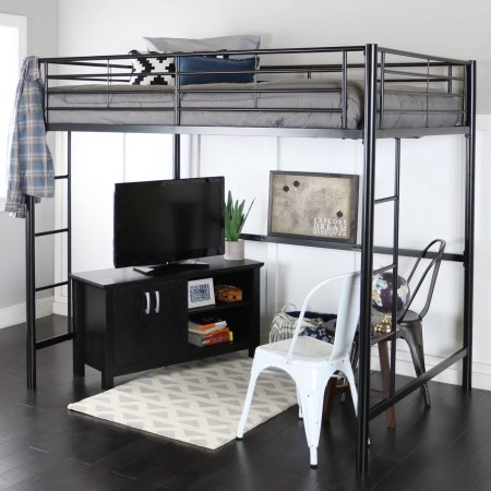 Premium Full Size Black Metal Loft Bed With Spa Sensations 6 Memory