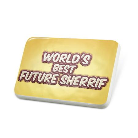 Porcelein Pin Worlds best Future Sherrif, happy yellow Lapel Badge – NEONBLOND](Sherrif Badges)