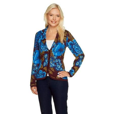 Isaac Mizrahi Jacquard Floral Sweater Blazer A255830