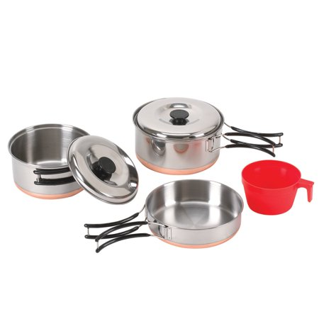 Multi Compact Cookset - Stansport One Person Stainless Cook Set