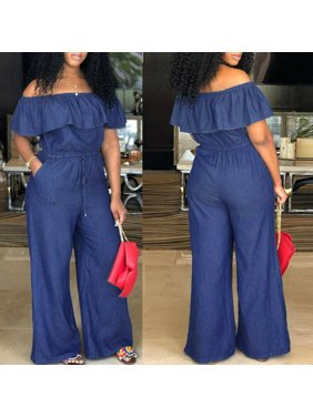 SUNSIOM New Casual Women's Bodycon Jumpsuit Jeans Denim Rompers Overalls Trousers Pants