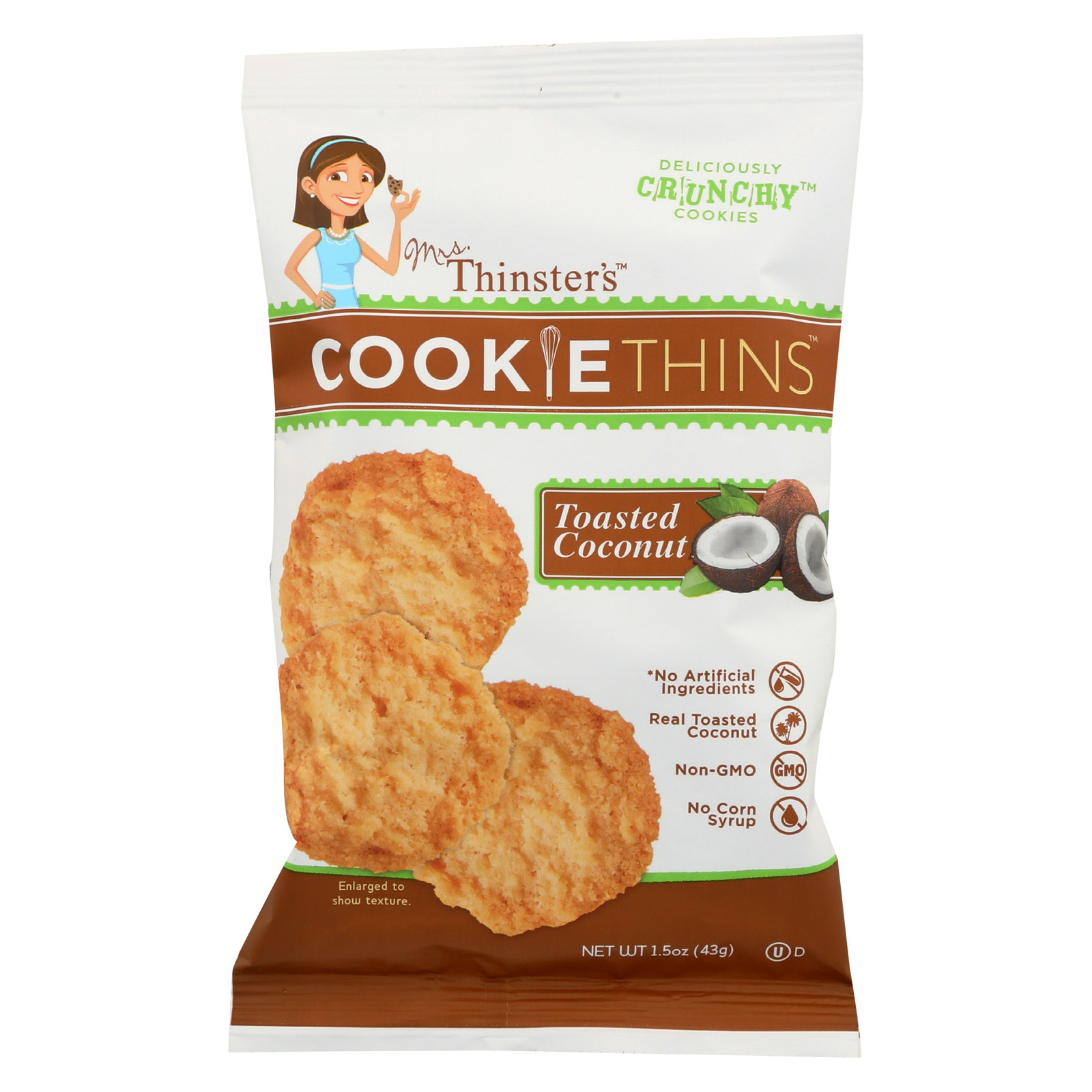 Mrs. Thinster's Cookie Thins, Coconut Flavor, Thin Crunchy Cookies, Non-GMO, No Artificial Flavors, Colors, Preservatives, Peanut-Free, 8-1.5oz Bags