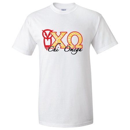 Chi Omega - Owl and Greek Letters Standard T-Shirt White, Gold, and Safety Pink