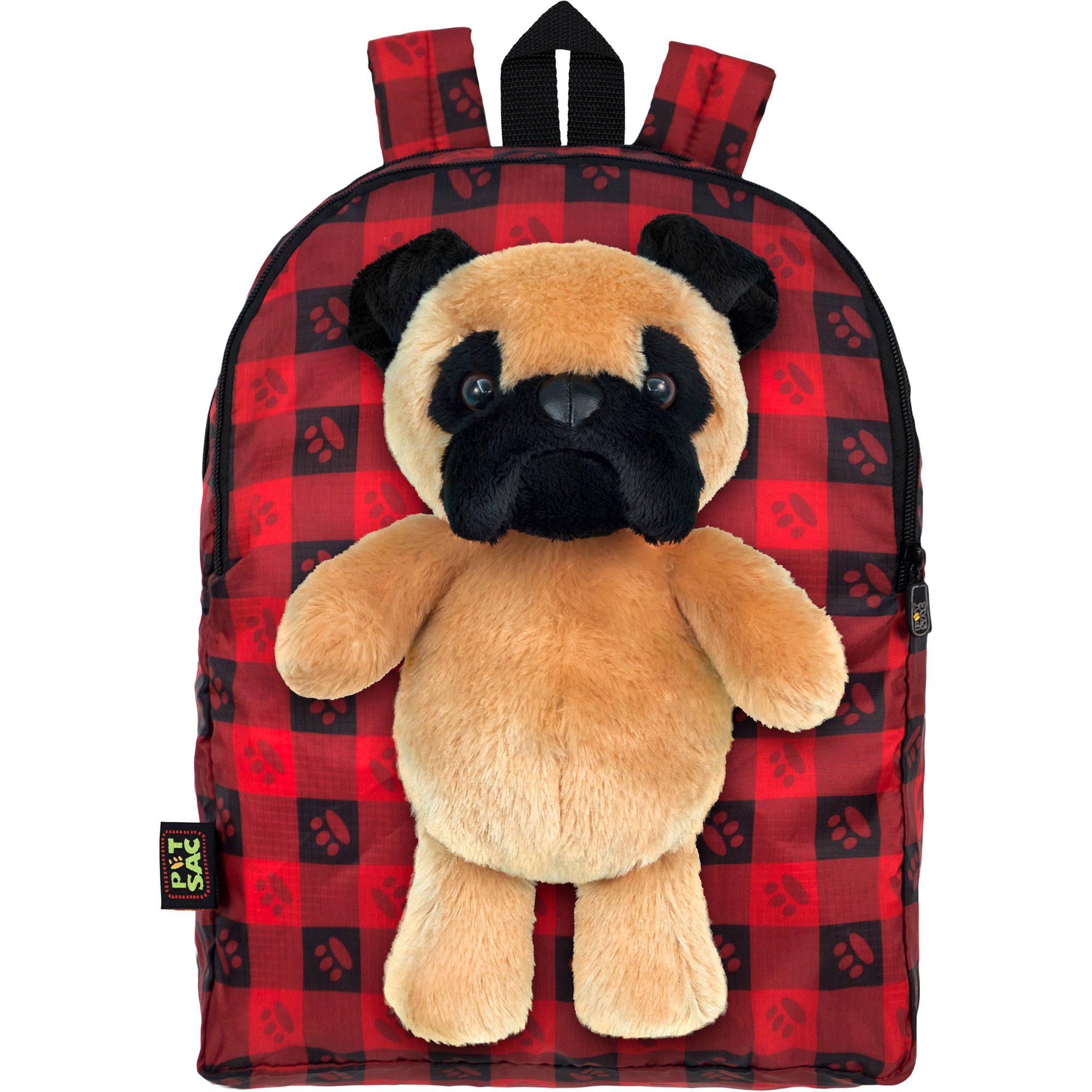 PetSac Tug the Pug with Red Plaid Printed Backpack