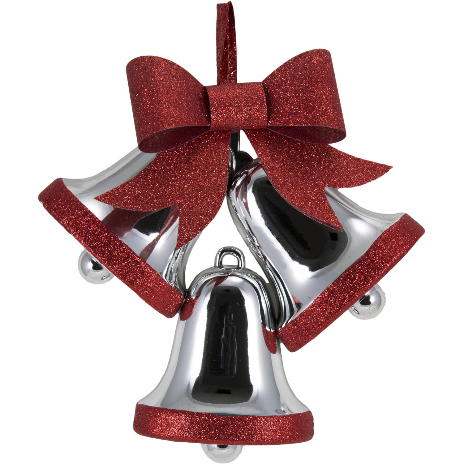 Holiday Time Silver/Red Glitter Bells