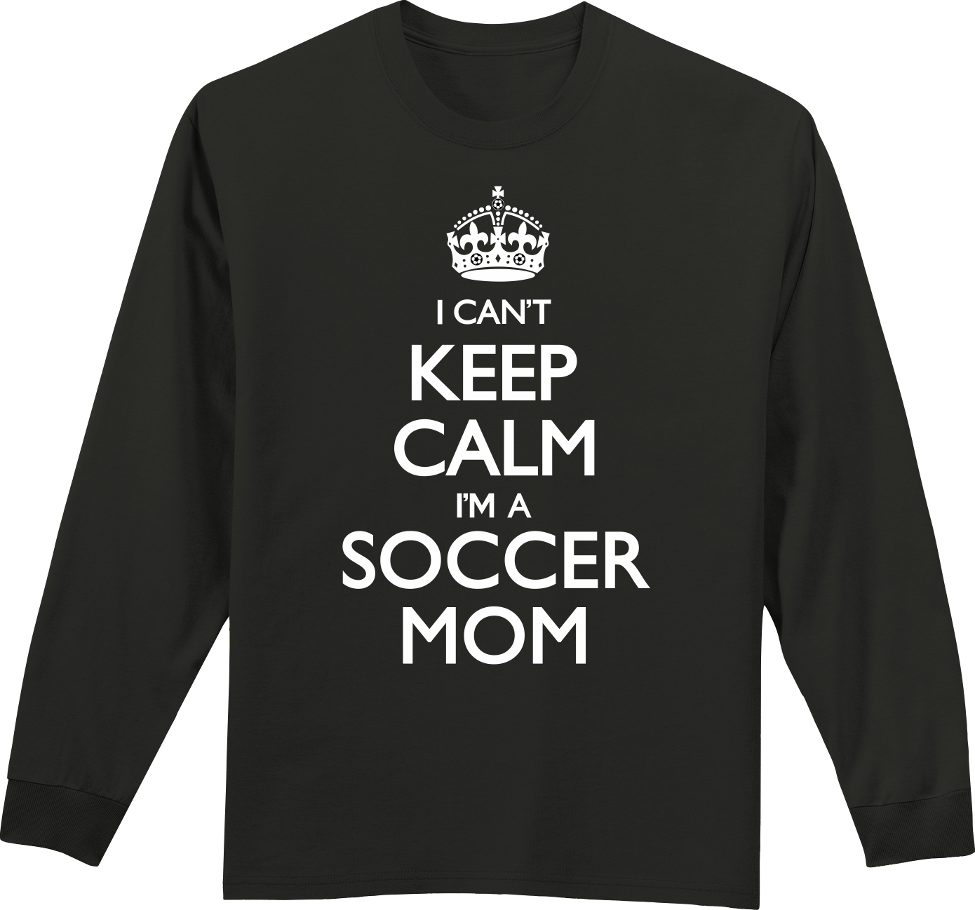 Long Sleeve Soccer T-Shirt: Can't Keep Calm Soccer Mom-Adult Small