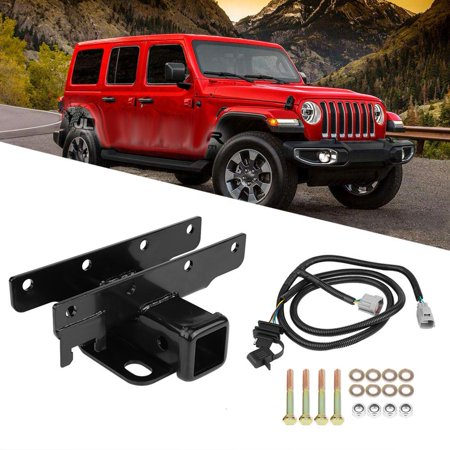 Ejoyous Receiver Hitch,Rear Trailer Receiver Hitch & Wire ... on jeep wrangler hitch cargo carrier, honda odyssey hitch wiring harness, toyota tacoma hitch wiring harness, jeep wrangler hitch cover,