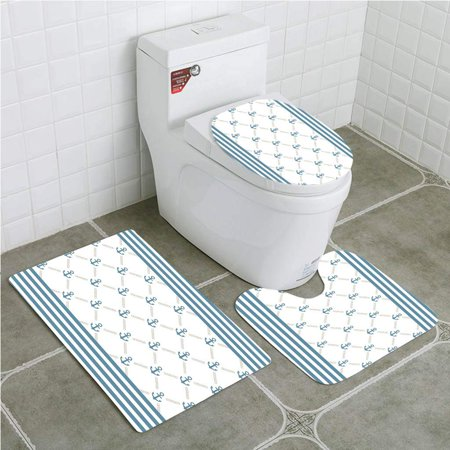 Admirable Gohao Anchor Blue Stripes Frame Abstract Stripes And Chain Figures Symmetrical 3 Piece Bathroom Rugs Set Bath Rug Contour Mat And Toilet Lid Cover Gamerscity Chair Design For Home Gamerscityorg